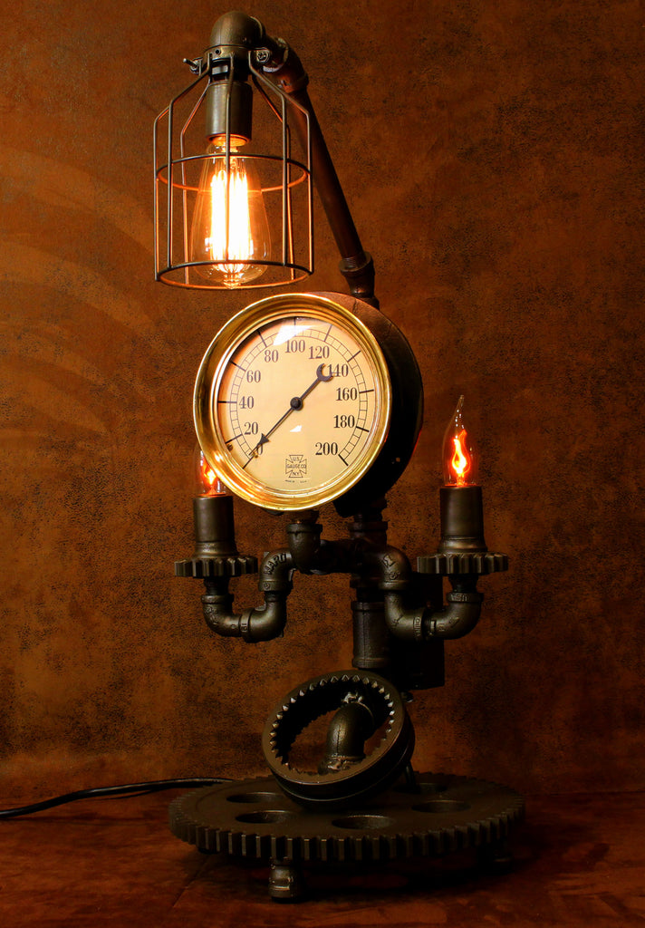 Steampunk Lamp, Steam Gauge Gear Lamp #CC7