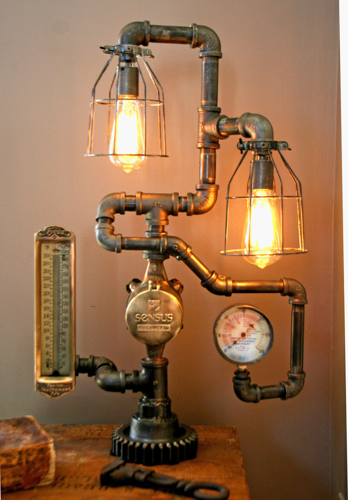 Antique Steampunk Steam Gauge And Thermometer Lamp 35