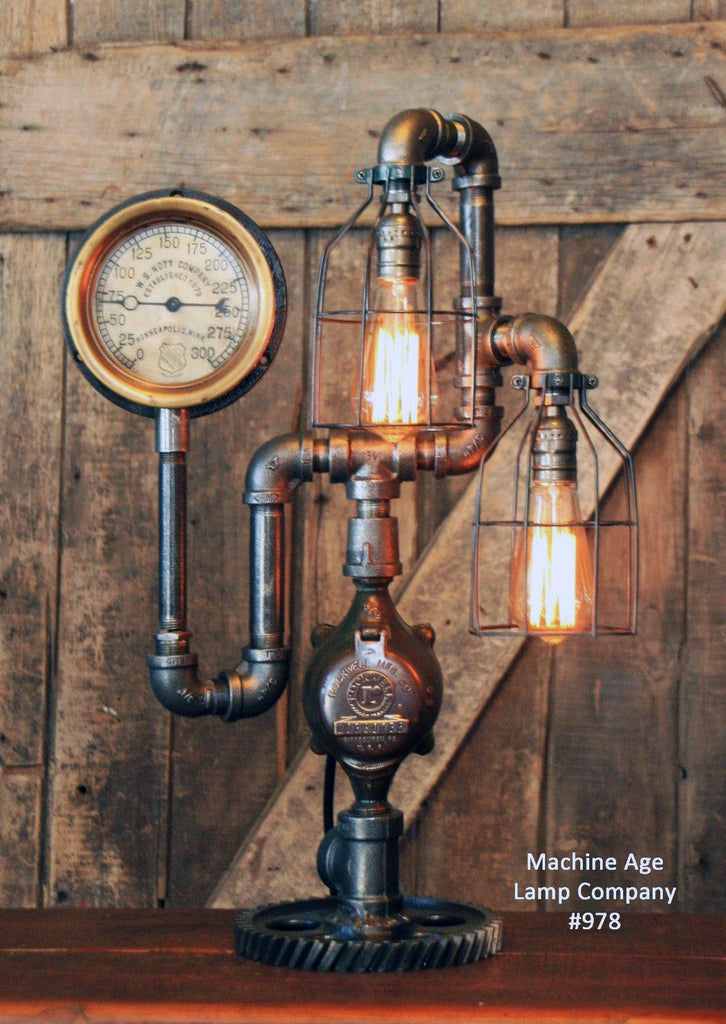 Steampunk Industrial, Steam Gauge and Oiler, Lamp, Minneapolis MN #978 - SOLD
