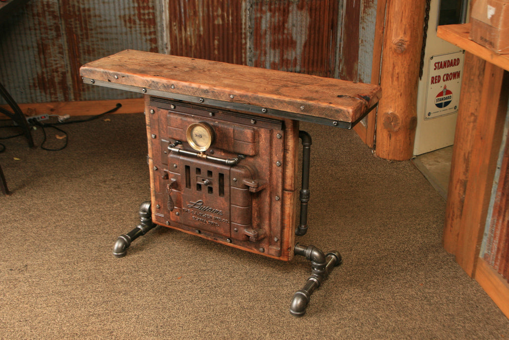 Antique Steampunk Industrial Boiler Door Table Stand Reclaimed Wood Top