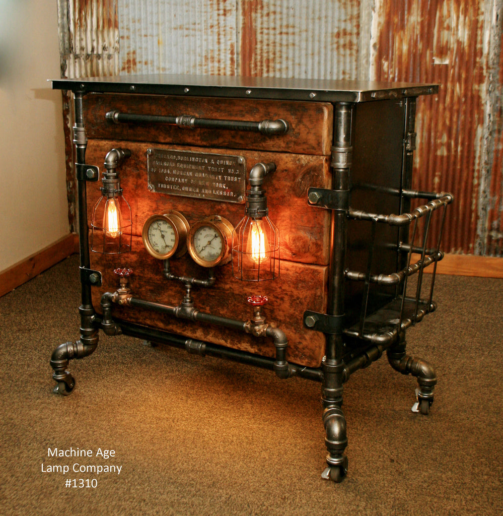 Stylish Designer Coffee Table Industrial Antiques Steam: Steampunk Industrial Bar / Hostess Stand / Table / Pub