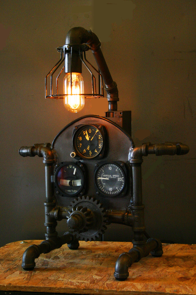 Steampunk Aviation Machine Age Lamp # 1 - SOLD