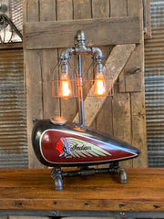 Steampunk Industrial / 1930's Indian Scout Gas Tank Lamp / Motorcycle Lamp #2544