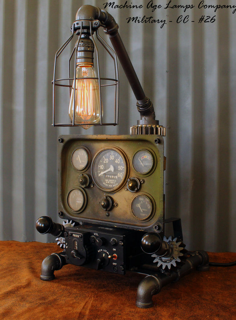 Steampunk Machine Age Aviation Lamp Willys Jeep Military