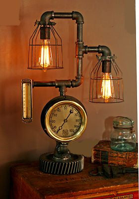 Steam Gauge and Thermometer Lamp - SOLD