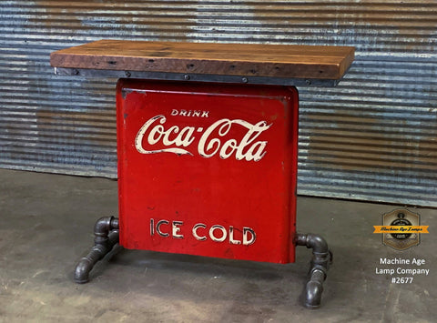 Steampunk Industrial / Antique 1940's Coke / Barn Wood / table #2677