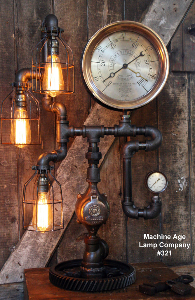Steampunk Industrial Lamp, Steam Gauge  #321 - SOLD