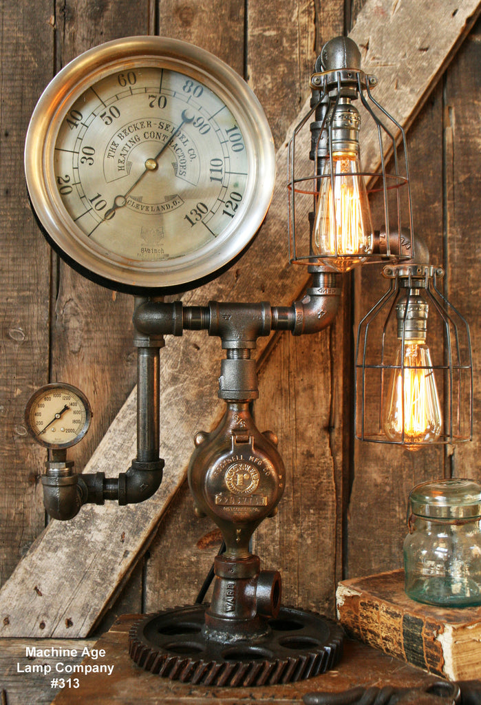 "Steampunk Lamp, Antique 9"" Steam Gauge and Gear Base #313 - SOLD"