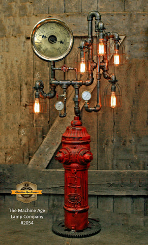 Steampunk Industrial / Fire Hydrant / Floor Lamp / Steam Gauge / Lamp #2054
