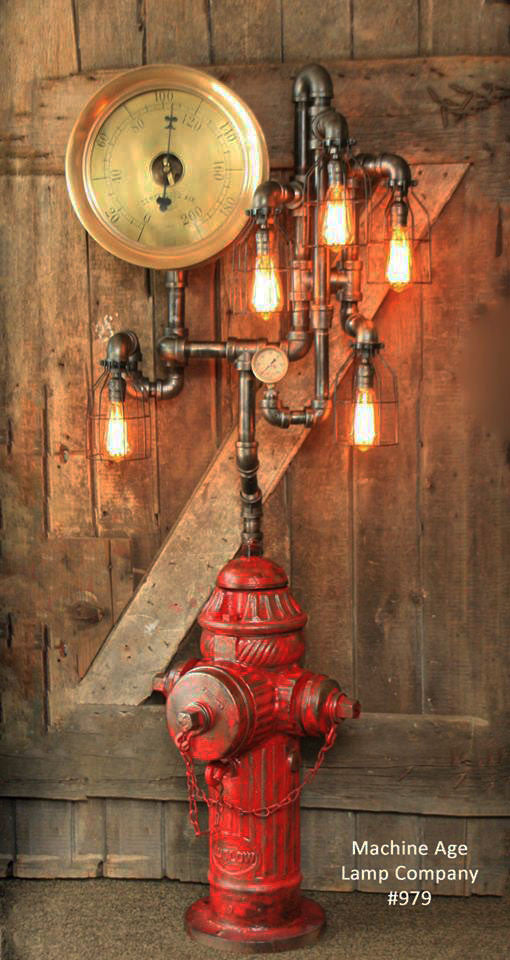 Steampunk Industrial Fire Hydrant, Steam Gauge Floor Lamp #979
