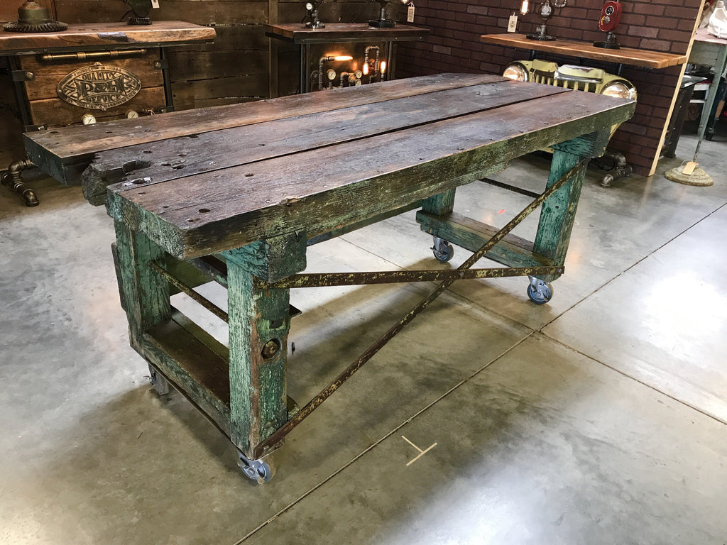 Antique farm workbench table - SOLD