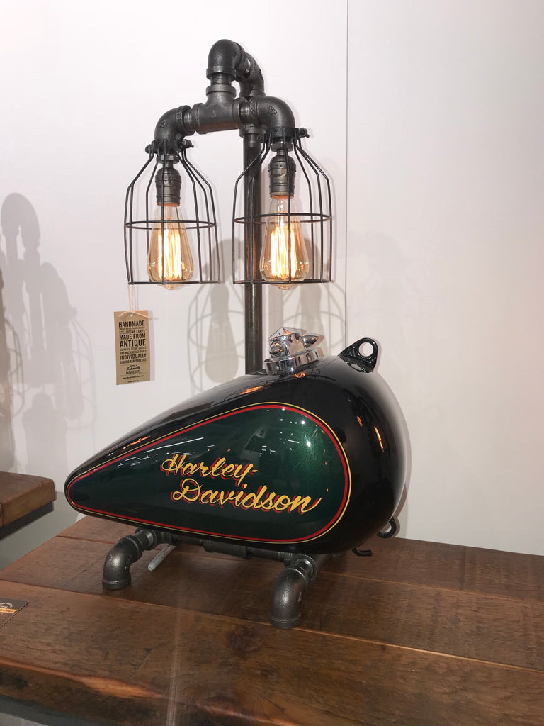 Steam punk Industrial reclaimed repurposed Harley Davidson gas tank / Lamp # sold