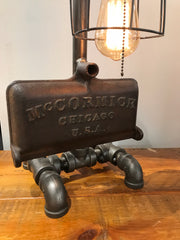 Steam punk Industrial  / Mccormick farm tractor Lamp sold