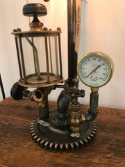 Steampunk Industrial / Vintage Oiler / Steam Gauge / Lamp #1809 sold