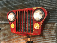 Steampunk Industrial Jeep Grille Wall Hanger Sconce / Automotive  /  #2003