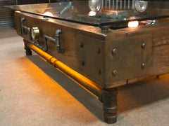 Steampunk Industrial Barnwood Coffee Steam Gauge Table  #2000