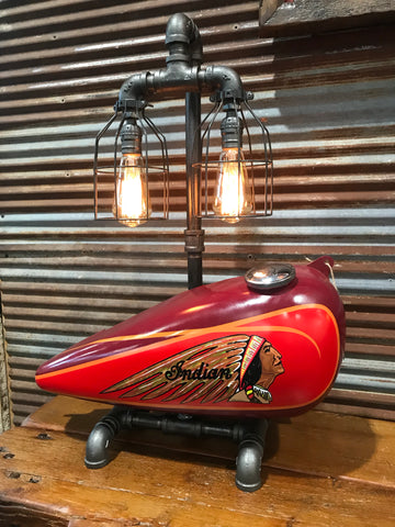 Steampunk Industrial / 1930's Indian Scout Gas Tank Lamp / Motorcycle Lamp #1955