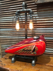 Steampunk Industrial / 1930's Indian Scout Gas Tank Lamp / Motorcycle Lamp #1955 sold