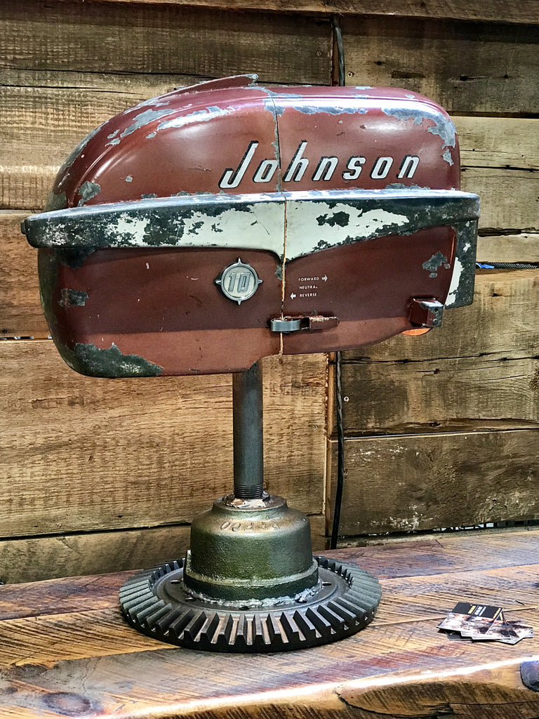 Steampunk industrial boat motor lamp Johnson #1480