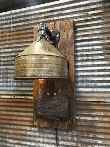 Steampunk industrial / Wall Sconce / Antique farm funnel / lamp #1651