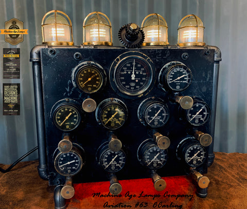 Steam punk 1940's WWII Submarine Diesel Engine Generator Control Panel Lamp  / Nautical /  #cc63