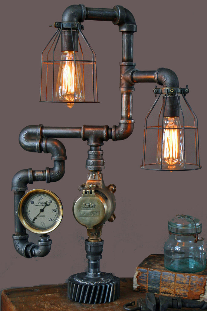 Steam Gauge 180 degree bend Lamp - SOLD