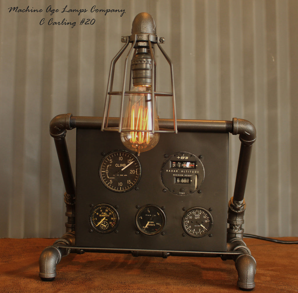 Steampunk Lamp, Vintage Aviation Avionics instrument panel #CC20 - SOLD