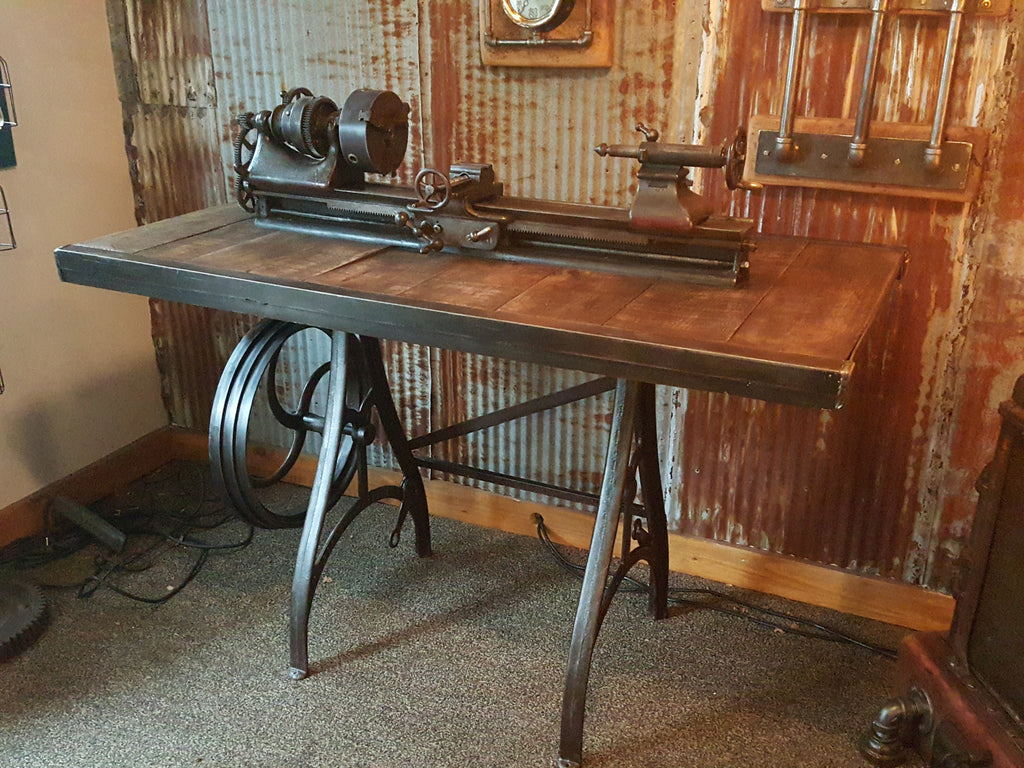 Rare Antique Barnes Lathe Pub Table Stand Reclaimed Wood