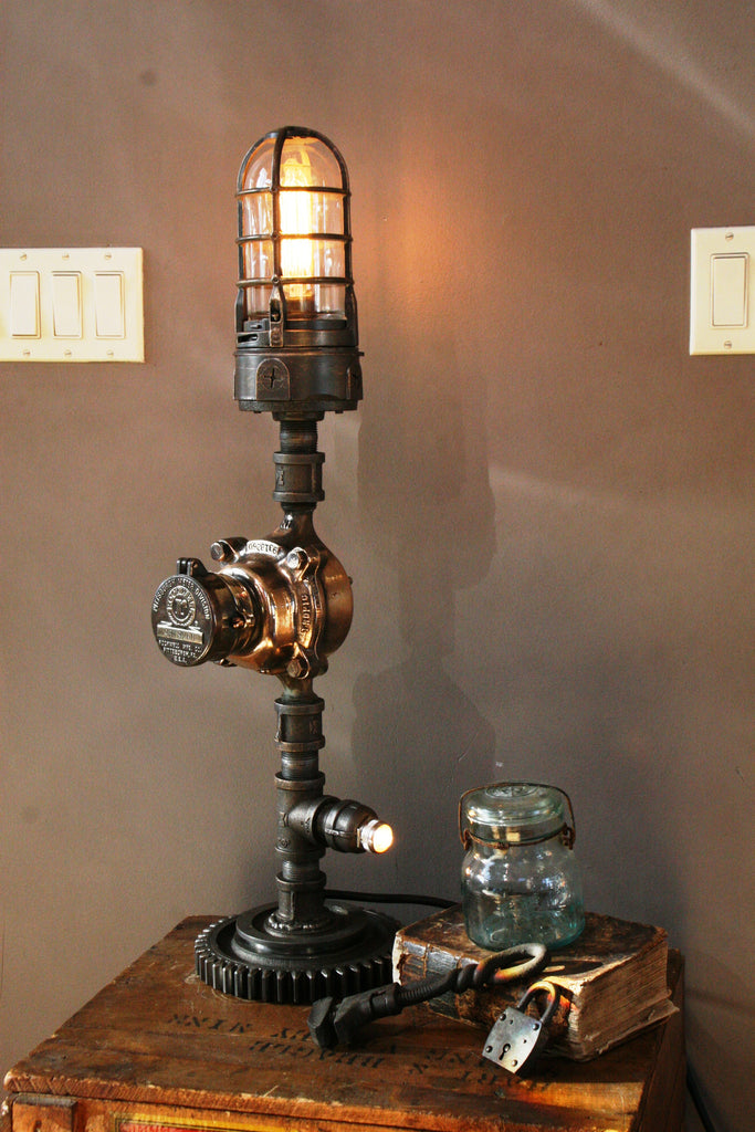 Brass Water Gas Meter Gear Lamp - SOLD