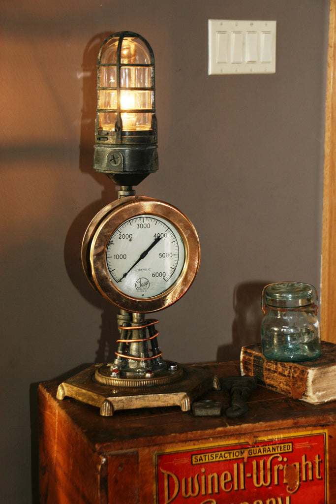 Brass Steam Gauge Jewel Lamp - SOLD