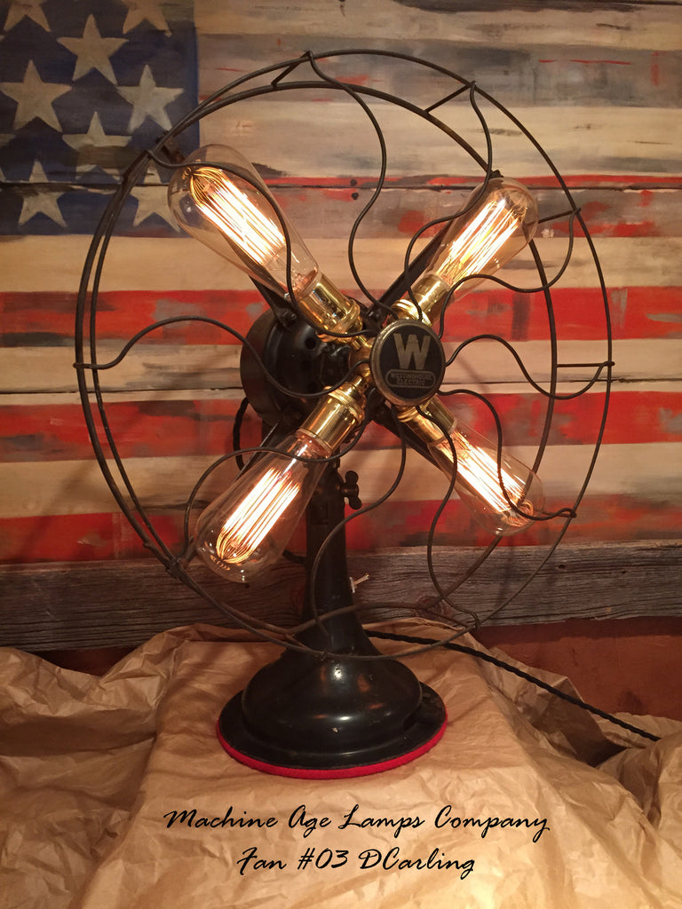 steampunk art deco antique westinghouse fan lamp dc3 sold rh machineagelamps com Steampunk Lighting Steampunk Pipes