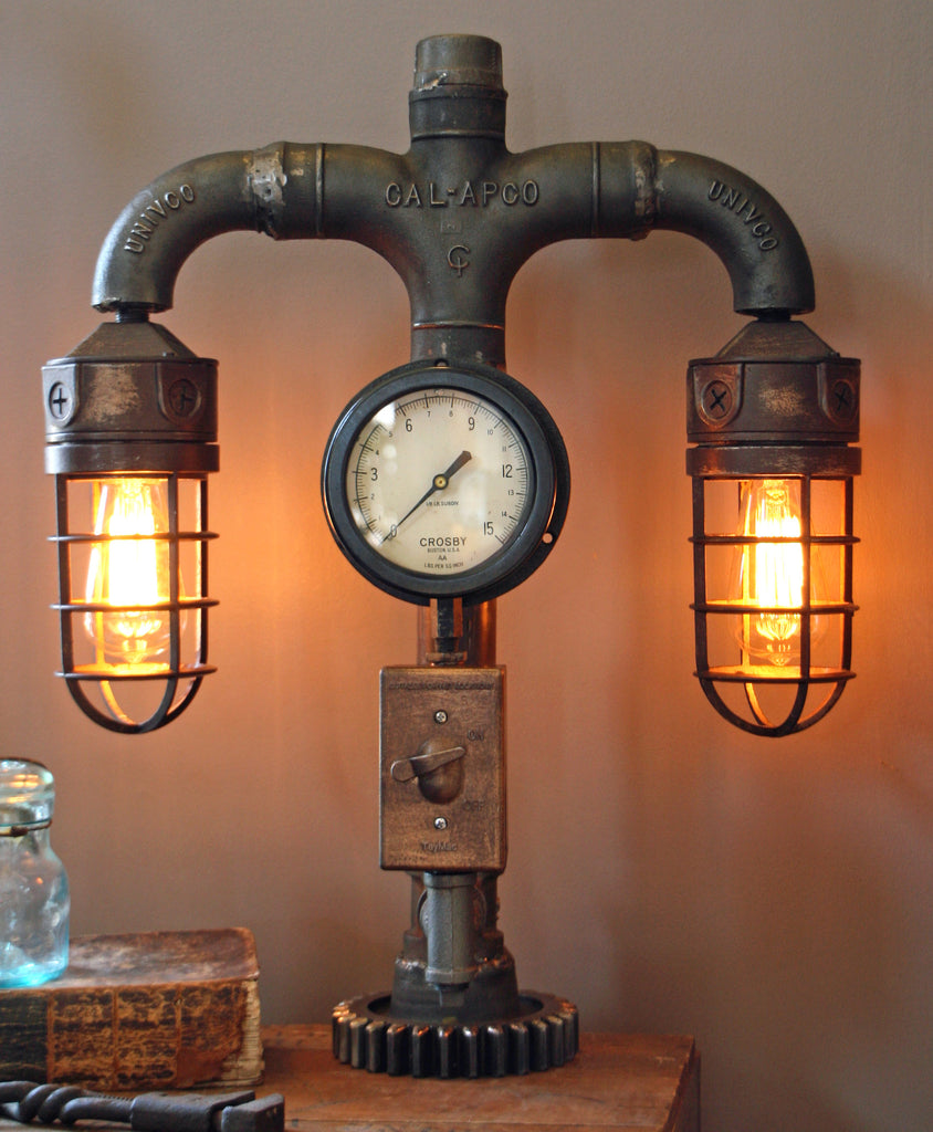 Vintage Plumbing Dual Shade Steam Gauge Lamp - SOLD