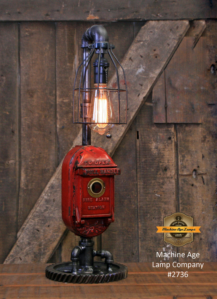 Steampunk Industrial / Machine Age Lamp / Fireman / Police / Antique Gamewell Call box / Alarm / Lamp #2736