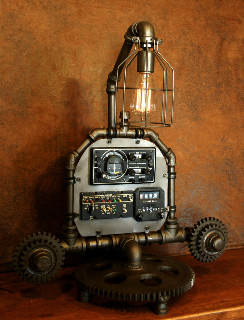 Steampunk Aviation Machine Age Lamp 2 Sold