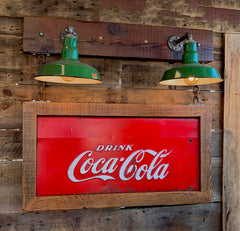 Steampunk Industrial Wall Sconce / Antique Coke Sign  / Lamp #2001
