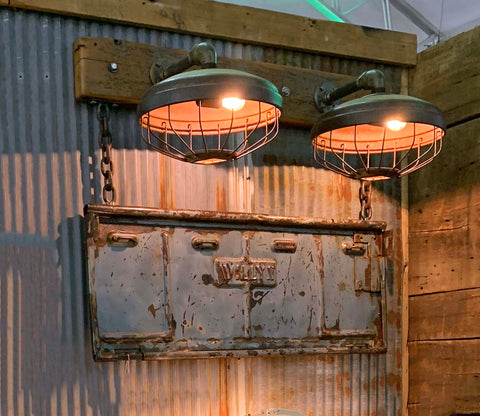 Steampunk Industrial / Willys Tailgate Wall Light / Sconce / Barnwood / Lamp