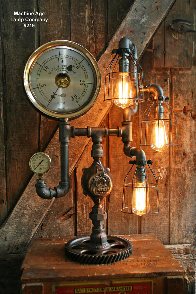 Steampunk Lamp, Steam Gauge and Gear Base #219 - SOLD