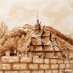 Painted with coffee - The Stave Church in Borgund, Norway