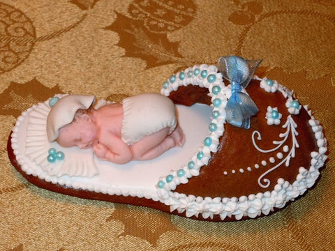 Gingerbread slipper with a baby boy GBS108 5""