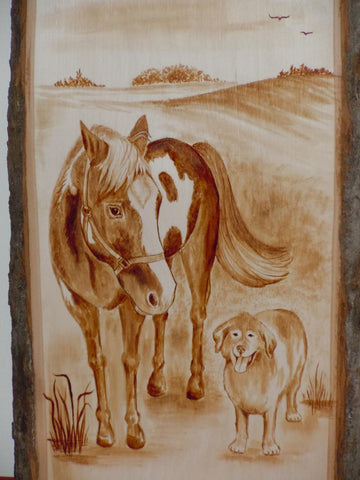 Wooden Plaque - Your Pets (Coffee painting)