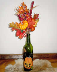 Hand painted wine bottle - pumpkin