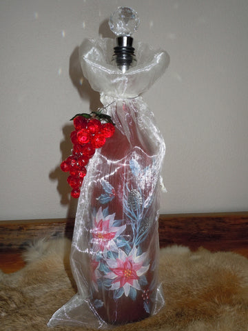 Hand Painted Bottle - Poinsettia