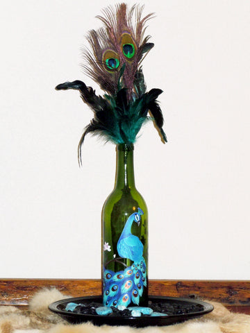 Painted Bottle - Blue Peacock