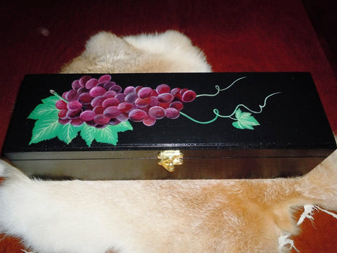 Wooden Wine Box with Grapes