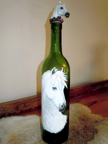 Painted Bottle with Horse Head