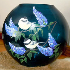 Hand painted glass vase with chickadees and lilac