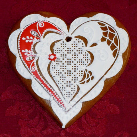 Gingerbread Heart with Lace A010GBL 5""