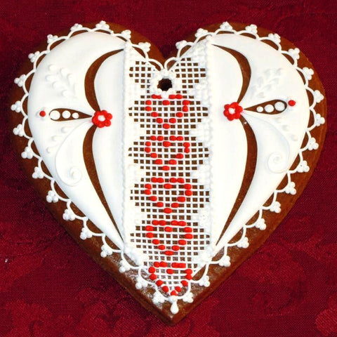Gingerbread Heart with Lace A004GBL 5""