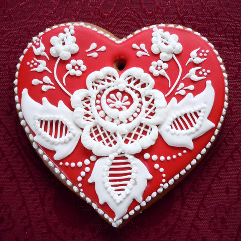 Gingerbread Heart with Folk Flower Motif A008GBL 5""