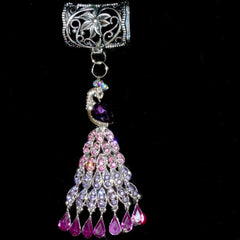 Pink and Purple Zircon Rhinestone Peacock